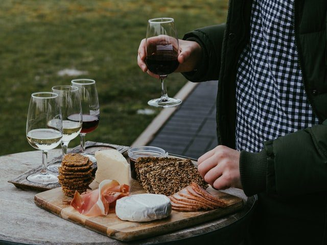 Winter Platter with Red Wine